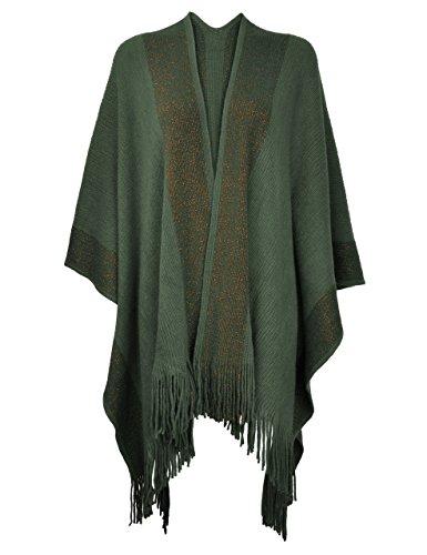 ZLYC Damen Weiche Schlichte Poncho Capes Retro Cardigans Pullover, Einheitsgröße, Armee-grün