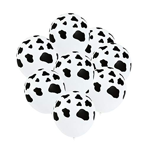12 Inches Funny Cow Print Latex Balloons for Children's Birthday Party Farm Animal Theme Party Supplies Decoration, Set of 50