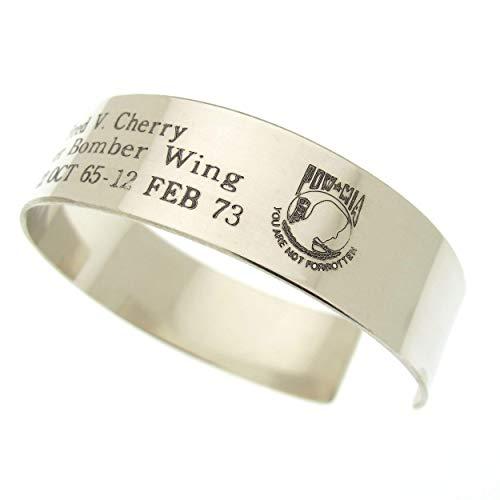 Custom POW Bracelet MIA Memorial Bracelet Durable Kia Bracelet in Sterling Silver Vietnam vet Cuff bracelet you are not forgotten Military jewelry Personalized Mens Bracelet