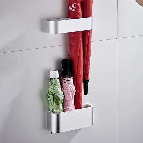 Sport Tent-Schirmständer Wand Regenschirmständer Wasserauffangschale Wandschirmständer für Flur Zuhause und Büro (Matt Silber)