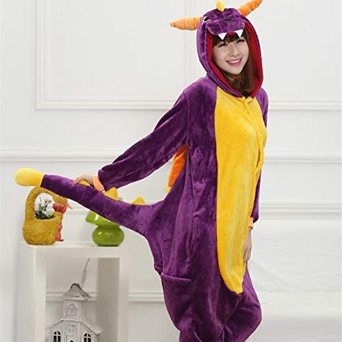 Adultos Ropa Franela Dinosaurio Pijama Mujeres Hombre Invierno Homewear Girl Onesie...