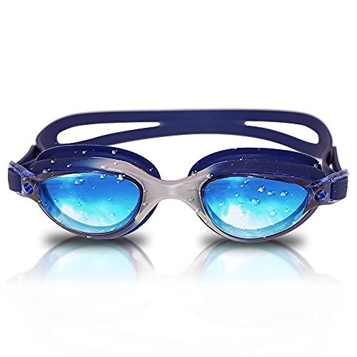 RABIGALA Gafas de natación polarizadas, antiniebla, anti UV, sin fugas, visión clara, para niños, adolescentes, jóvenes, hombres, adultos (azul, L)