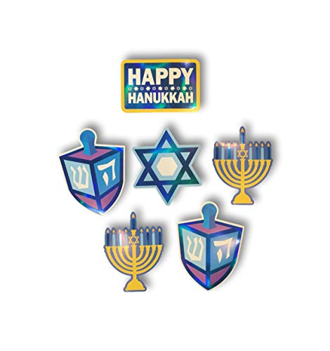 Plum Nellie's Treasures Hanukkah Decorations - Set of 6 10inch Hot Stamping Cutouts, Menorah, Dreidel, Star of David & Happy Hanukkah