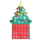 Cutogain Árbol de Navidad Calendario de Adviento Paneles Kit Tela de Fieltro Decoración para el hogar de Vacaciones