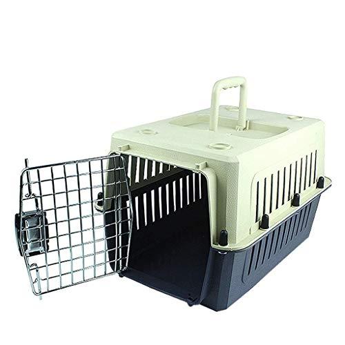 ZZXXMM Transportbox – in Übereinstimmung mit den IATA-Anforderungen für den Transport von lebenden Tieren, große Transportbox (grau-schwarz) (Größe: 60 x 40 x 40 cm)