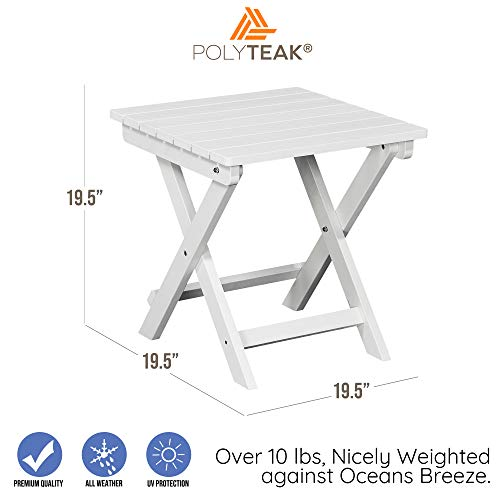 PolyTEAK Folding Outdoor Side Table, Powder White | Weather Resistant, Patio Side Table | Made from Special Formulated Poly Lumber Plastic | Product Weight 15 lb, Fully Assembled