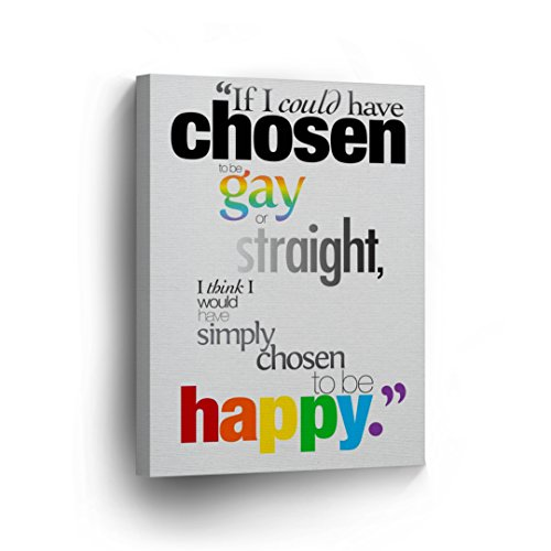 Gay or Straight Be Happy Gay LGBT Wall Art Lesbian Gay Canvas Print Decorative Decor Artwork Wrapped Stretcher Bars Ready to Hang%100 Handmade in The USA - 12x8