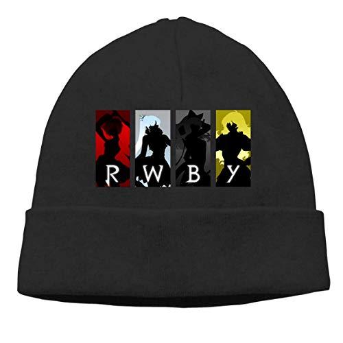 Lsjuee RWBY Gestrickte Mütze mit Manschette Winter Unisex Hut Schwarz