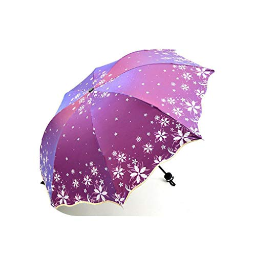 Beautiful Flowers Umbrella Fashion Glitter Color Changing Women Umbrellas Blossom Girl Sun Parasol Gift,Purple Red