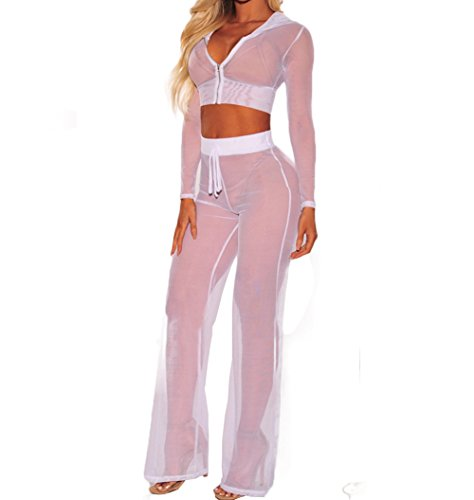 Women See Through Sheer Mesh Bandage Two Piece Bikini Cover Up Hoodie Crop Tops and Legging Pants (XL, White)