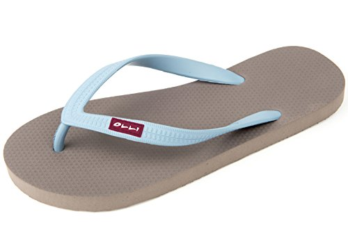 OLLI Men's Fair Trade Natural Rubber Flip Flops Iron Grey/Blue 46 EU/13 US M