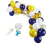 TOPofly Arco del Globo del Globo de látex Garland Conjunto de Oro Azul Real para la Ceremonia de la Boda de la Fiesta de cumpleaños de Las Muchachas 113PCS
