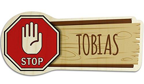 printplanet Türschild aus Holz mit Namen Tobias - Motiv Stopschild mit Hand - Namensschild, Holzschild, Kinderzimmer-Schild