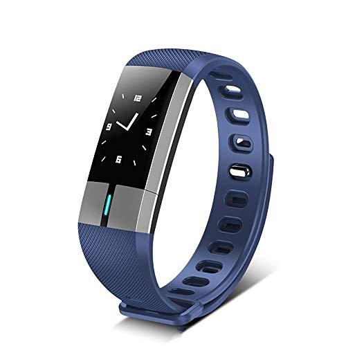 Mygsn Watch Fitness Tracker Watch Waterproof - Herzfrequenz Gesunder Schlaf Überwachung wasserdichte Touchscreen Sport Pedometer Smart Armband Watch (Farbe : Blau)