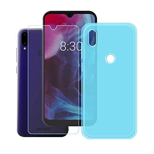 DQG Panzerglas + Hülle für Archos Oxygen 57,Semi-Transparent Blau Cover TPU Handyhülle Silikon Tasche Hülle Schutzhülle - Gehärtetes Glas Schutzfolie für Archos Oxygen 57 (5.71