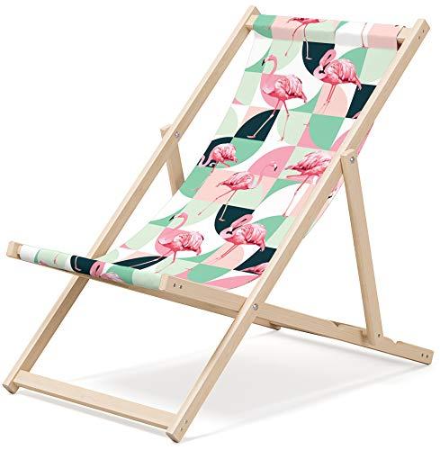 Gartenliege aus Holz Klappbar Liegestuhl Relaxliege Strandstuhl Klappliegestuhl, Motiv: Warhol Flamingos