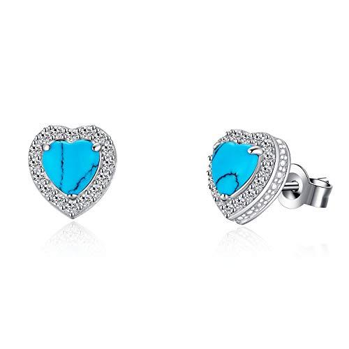 Pendientes de plata de ley 925 con gemas de color turquesa, estilo vintage, pendientes de tuerca pequeños, joyería para mujeres y niñas, forma de corazón