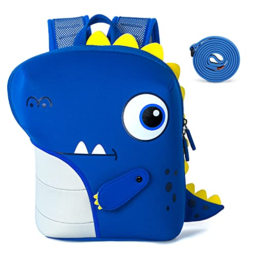 NOHOO Toddler Dinosaur Backpack with Safety Leash, Cute Cartoon Neoprene Waterproof Preschool Backpack Travel Bag for Kids Little Boys Girls 1~6 Years Old (Blue)