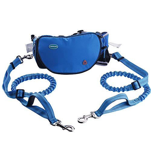 "ThinkPet Hands Free Dog Leash for 2 Dogs - Shock Absorbing Bungee Leash for Medium to Large Dogs, Adjustable Waist Belt from 25.6"" to 49"", Dog Treat Pouch & Bottle Holder"