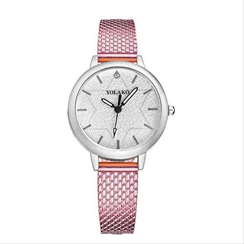 OLUYNG Reloj de Pulsera Nuevo Reloj de Mujer con Estilo Conjunto de Temperamento Diamante Cien Set Reloj de Mujer de Cuarzo Rosa