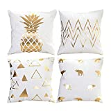 Hoomall Lot de 4 Housses de Coussin Decoration Oreiller Carré Taie d'oreiller Décoratif pr Sofa Maison Housse de Canapé 45x45cm (Dessin 3)