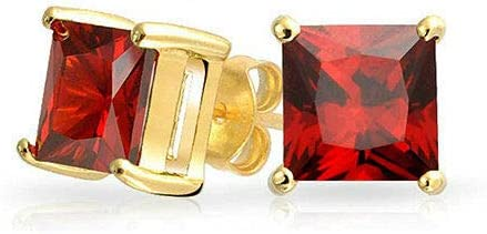 GM Jewelry Unisex/Women's Prong Set Cubic Zirconia Square Stud Gold Plated Stainless Steel Earrings (8mm) - Yellow/Red