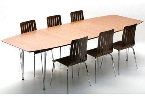 Casa Padrino Designer Konferenztisch Nussbaum/Chrom Ausziehbar 170-270 cm - Designer Tisch Esstisch