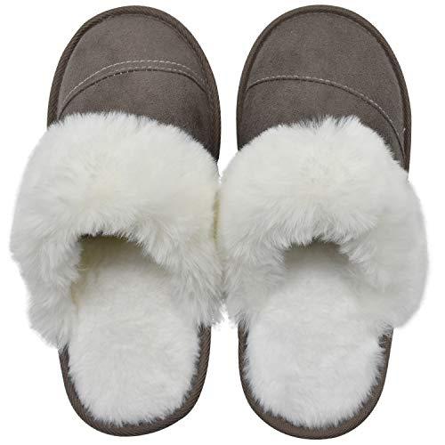 KuaiLu Zapatillas de Casa Mujer Invierno, Caliente Mullida Forro de Felpa Cerradas Pantuflas, Cómodo Espuma de Memoria Antideslizantes Zapatos