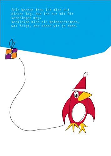 Kartenkaufrausch vrolijke, kerstwenskaart met pinguïn in Nikolaus muts • Kerstmis felicitaties in set met envelop voor de jaarwisseling voor familie, vrienden, collega's van de firma