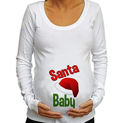 WEIMEITE Femme Blouse Liquidation Cadeaux De Noël Lettre Imprimé À Manches Longues Tops Bébé pour La Maternité Casual T-Shirt B L