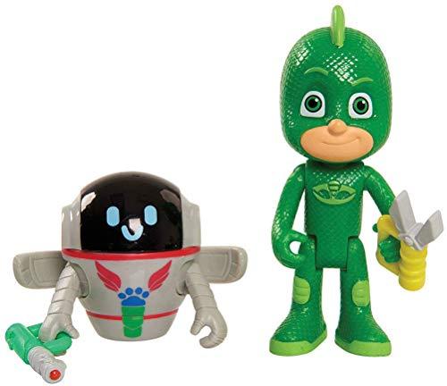 PJ Masks- Pack de 2 Figuras, Gekko & PJ Robot (Bandai JP95309)