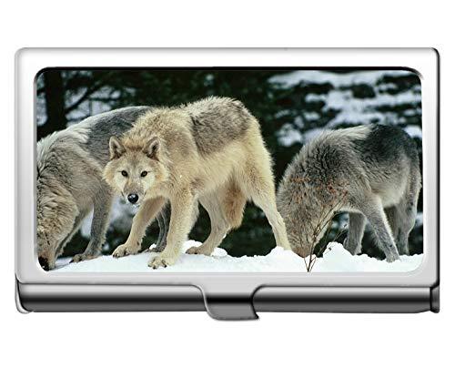 Titular de la tarjeta de presentación comercial, Caja de almacenamiento de la caja del titular de la tarjeta de visita de crédito de protección para adultos lobo animal