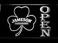 Jameson Shamrock Open LED看板 ネオンサイン ライト 電飾 広告用標識 W60cm x H40cm ホワイト