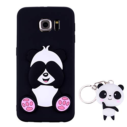 HopMore Panda Funda para Samsung Galaxy S6 Silicona con Diseño 3D Divertidas Carcasa TPU Ultrafina Case Antigolpes Caso Protección Cover Dibujos Animados Gracioso con Llavero - Negro