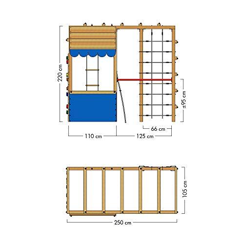 WICKEY Spielturm Klettergerüst Smart Action mit blauer Plane, Gartenspielgerät mit Kletterwand & Spiel-Zubehör - 4