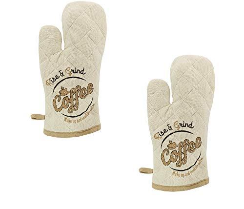 KUTEX 2 guantes de horno con 2 guantes de cocina para microondas, antideslizantes, resistentes al calor, guantes de cocina de algodón para barbacoa, barbacoa, parrilla, cocina (Beige Coffe Time)