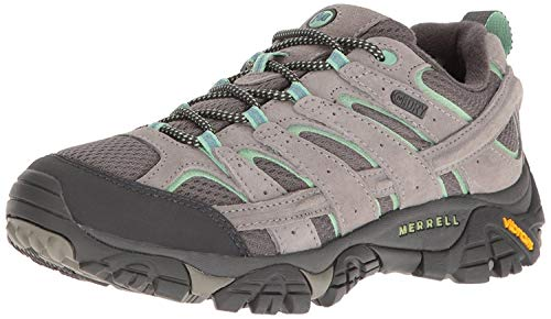 Merrell Women's Moab 2 Waterproof Hiking Shoe, Drizzle/Mint, 6.5 W US