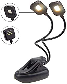 BIGLIGHT Book Light for Reading in Bed, Battery Operated Clip on Reading Light, Bright LED Music Stand Light, 3 Lighting M...