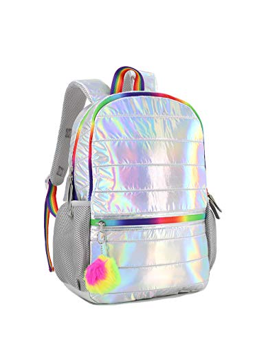 Searock Girls Elementary School Backpack Holographic Lightweight Kids Teen School Bag Silver