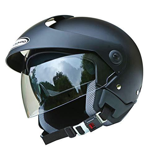 Saferide | Helm Motorrad Mit Sonnenblende Matt Schwarz XL - 61-62 cm Rollerhelm Quad Damen Herren Roller Motorradhelm Regenschutz Jugendliche Schutzhelm Sturzhelm Erwachsene Moped Mofa
