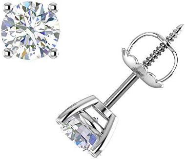 DIAFROST 1 Carat 4 Prong Set Lab Grown Diamond Stud Earrings in 14K White Gold IGI Certified product image