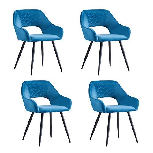 AINPECCA Esszimmerstühle, Samt, gepolstert, mit schwarzen Metallbeinen, für Wohnzimmer, Lounge, Rezeption, Restaurant (Blaugrün, 4)