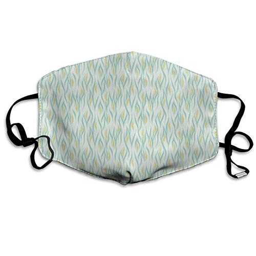 Face Anti-Dust Mask Men Women,Continuous Pattern of Natural Wavy Motif in Soft Tones,Washable and Reusable