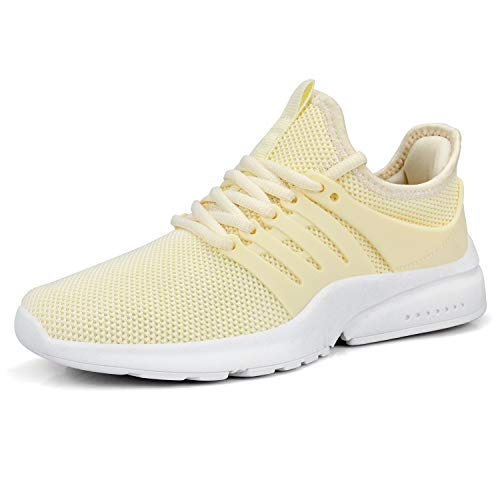 QANSI Womens Walking Shoes Nonslip Running Hiking Training Sneakers Outdoor Athletic Shoes Light Yellow Size 9