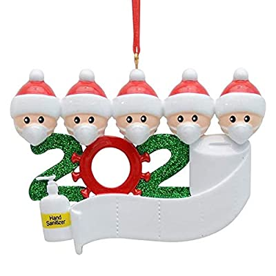 KAZOLEN Personalized 2020 Christmas Ornaments Quarantine Family with Masks Hand Sanitizer Toilet Paper Hanging Ornament for Christmas Decorations Tree Home Decor Xmas Gifts (Family of 5)
