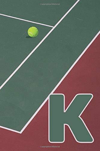 K: Capital Letter Monogram tennis court Dot Grid notebook, Court Lines Racket & Ball Sport theme: Pixel Art Grid for Pixel Artists, Gamers, Designers and Art LOVERS