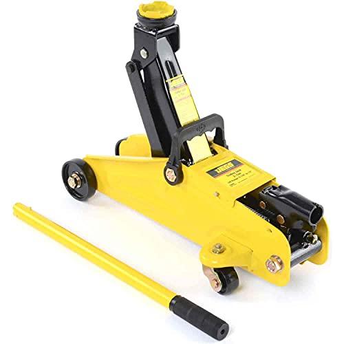 JEGS 2-Ton Hydraulic Utility Floor Jack | Heavy Gauge Steel Chassis | Heavy Duty Steel Swivel Caster Wheels | Rotating Saddle | Yellow Finish