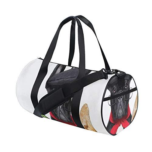 ZOMOY Sporttasche,Französischer Hund in einem Hut Rotwein Stangenbrot Brot feinschmeckerischem Parisienne Tier,Neue Bedruckte Eimer Sporttasche Fitness Taschen Reisetasche Gepäck Leinwand Handtasche