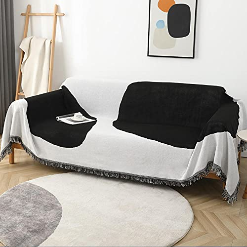 haoyunlai Manta de sofá, toalla de sofá simple antideslizante, juego de cojines de sofá para tejer, negro y blanco, 180 x 180 cm