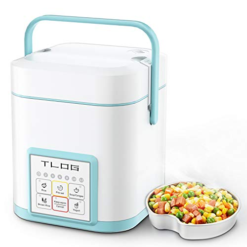 TLOG Mini Rice Cooker 2 Cups Uncooked,1.2L Portable Rice Cooker, Travel Rice Cooker Small for 1-2 People, Personal Rice Cooker, Food Steamer, Multi-cooker for Brown Rice, White Rice, Soup,Keep Warm